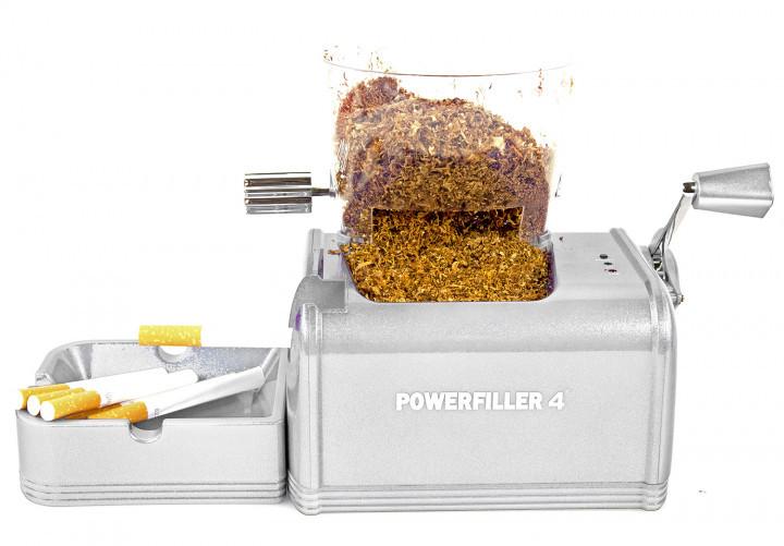Powerfiller 4 - mit Trichter - elektrische Stopfmaschine - Farbe: silber